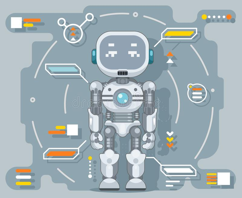 Futuristic android robot electronic artificial cybernetic intelligence information interface metal automation flat. Futuristic android robot electronic royalty free illustration