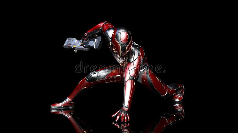 Futuristic android soldier in bulletproof armor, military cyborg armed with sci-fi rifle gun crouching on black background, 3D. Rendering stock illustration