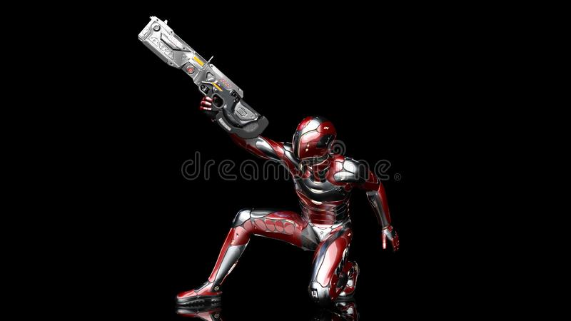 Futuristic android soldier in bulletproof armor, military cyborg armed with sci-fi rifle gun crouching and shooting on black. Background, 3D rendering stock illustration
