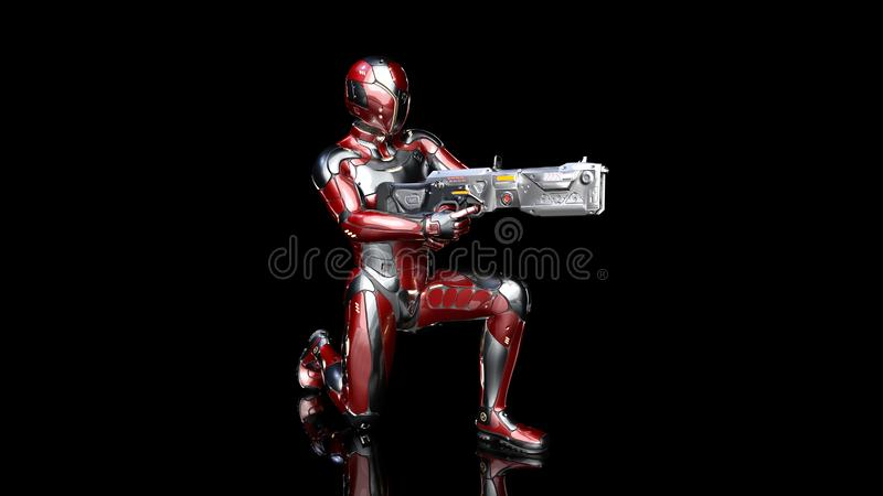 Futuristic android soldier in bulletproof armor, military cyborg armed with sci-fi rifle gun kneeling on black background, 3D. Rendering vector illustration