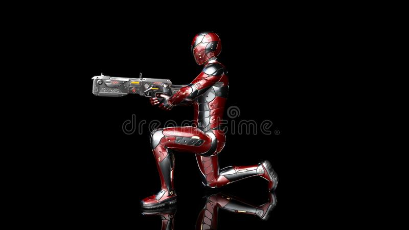 Futuristic android soldier in bulletproof armor, military cyborg armed with sci-fi rifle gun kneeling and shooting on black. Background, 3D rendering royalty free illustration