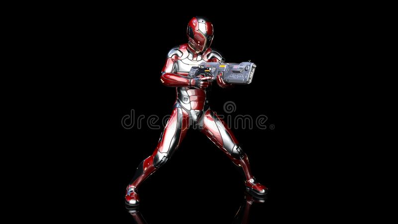 Futuristic android soldier in bulletproof armor, military cyborg armed with sci-fi rifle gun shooting on black background, 3D. Rendering stock illustration
