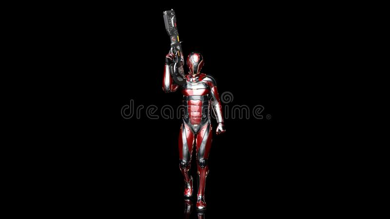Futuristic android soldier in bulletproof armor, military cyborg armed with sci-fi rifle gun walking on black background, 3D. Rendering vector illustration