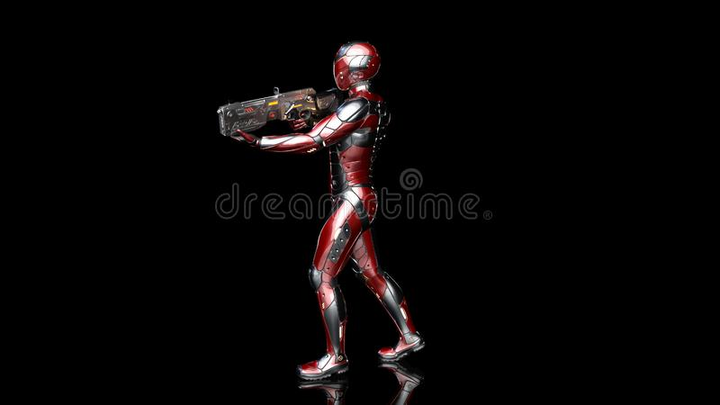 Futuristic android soldier in bulletproof armor, military cyborg armed with sci-fi rifle gun walking and shooting on black. Background, 3D rendering stock illustration