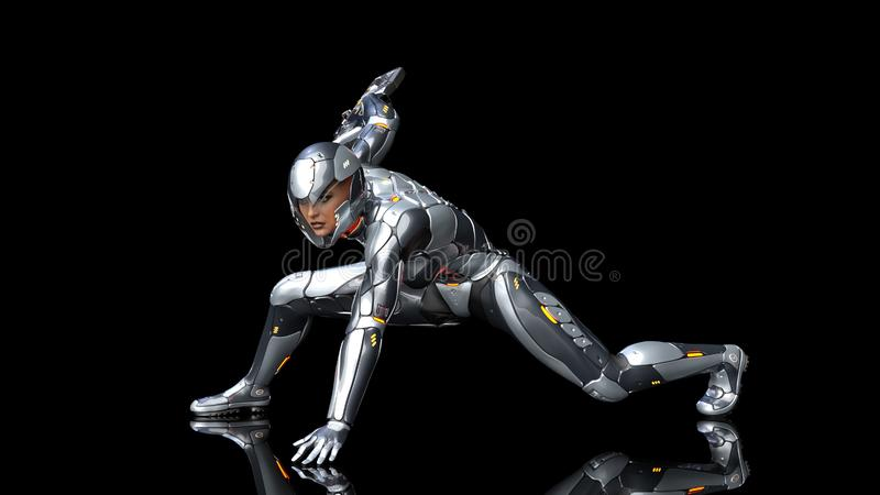 Futuristic android soldier woman in bulletproof armor, military cyborg girl armed with sci-fi rifle gun crouching on black vector illustration