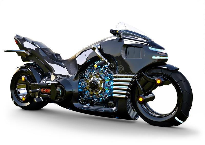 Futuristic angled light cycle. Motorcycle is on an isolated white background. stock illustration