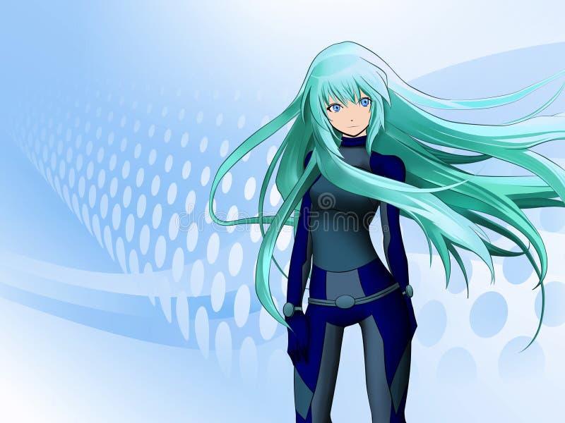 Futuristic anime girl. On blue background stock illustration