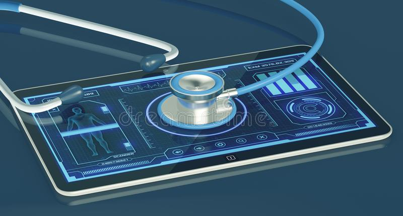 Futuristic medical app. Futuristic app interface for medical and scientific purpose, with a stethoscope 3d render royalty free illustration
