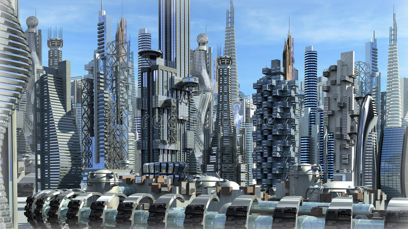 Futuristic architectural city. Science fiction city with glass, metallic structures for futuristic or fantasy backgrounds vector illustration