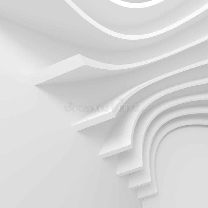 Futuristic Architecture Background. White Abstract