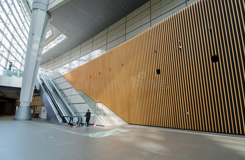 Futuristic Architecture, Interior of Tokyo International Forum. Tokyo, Japan stock image