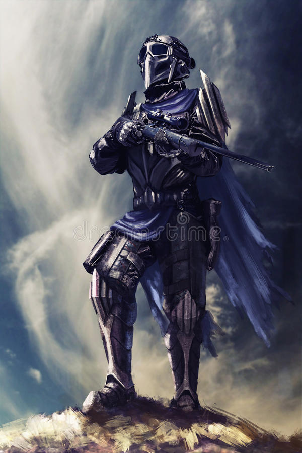 Futuristic armored warrior. With weapons on the pinnacle vector illustration