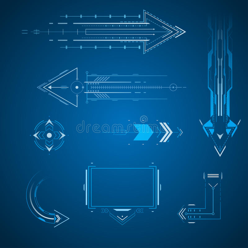 Futuristic arrows set vector illustration