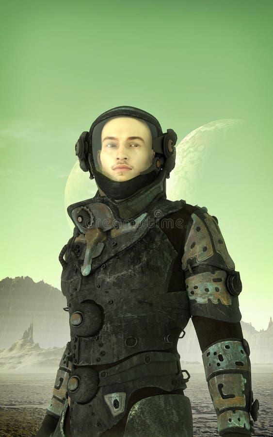 Futuristic astronaut on alien planet vector illustration