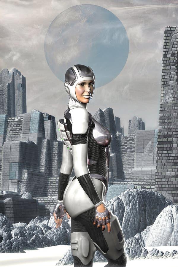 Futuristic astronaut girl on an alien planet vector illustration