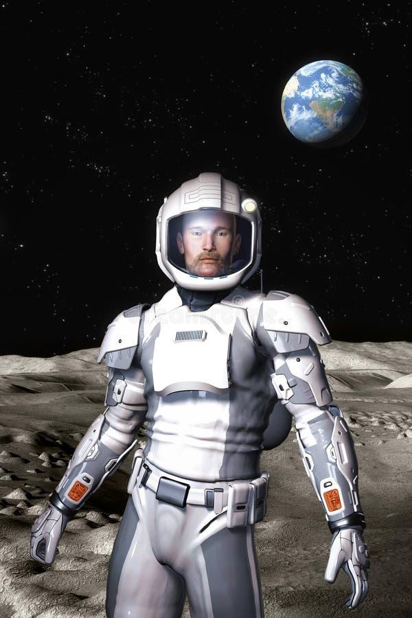 Futuristic astronaut on the moon surface vector illustration