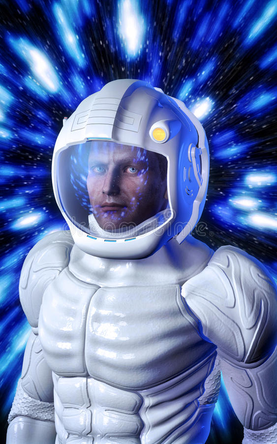 Futuristic astronaut in white space suit stock illustration