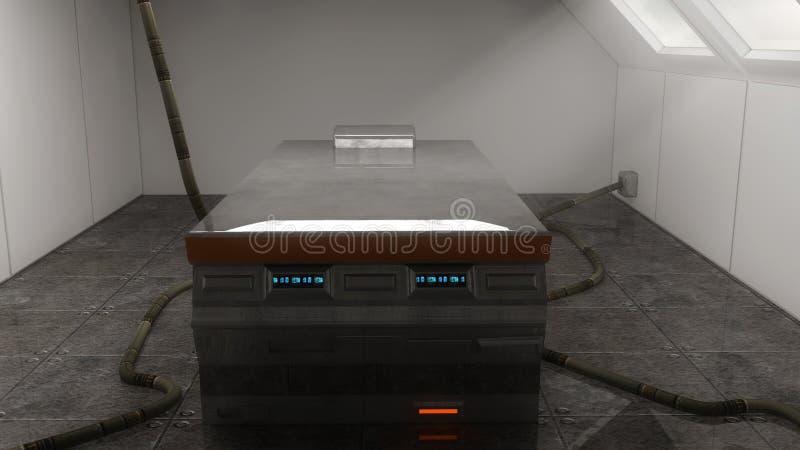 Futuristic autopsy table stock photo