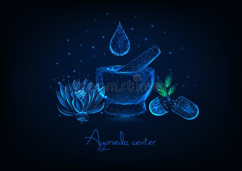 Futuristic ayurveda center concept with mortar, essential oil drop, lotus flower and herbal pills. Futuristic ayurveda center concept with glowing low polygonal royalty free illustration