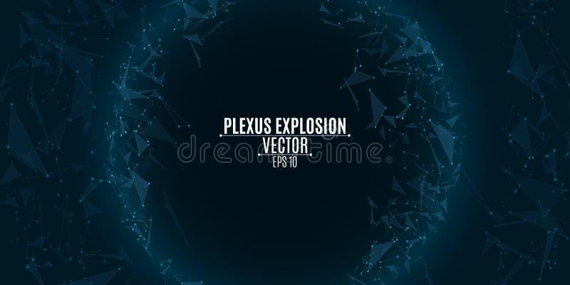 Futuristic background of flying luminous triangles. Plexus explosion. Geometric modern design. Hi-tech, sci-fi. Molecular physics. royalty free illustration