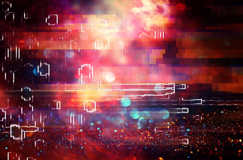 Futuristic background of the 80s retro style. Digital or Cyber Surface. neon lights and geometric pattern , test screen glitch. Futuristic background of the 80s stock images