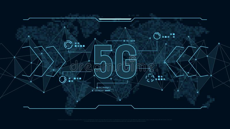 Futuristic background for technology 5G with polygons connection structure and world map in pixels. Technology concept. vector illustration