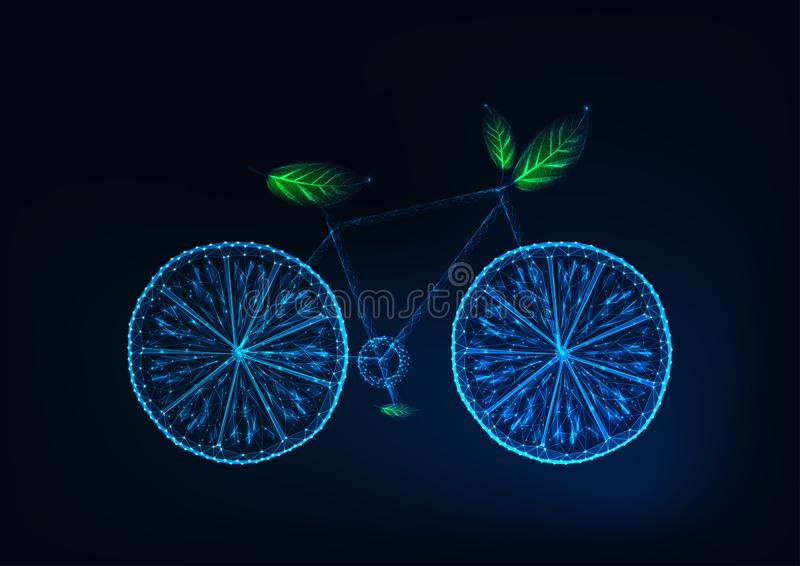 Futuristic bicycle made of lemon slices,and green leaves. Eco tourism, ecological lifestyle concept. Futuristic wireframe glowing low polygonal vector royalty free illustration