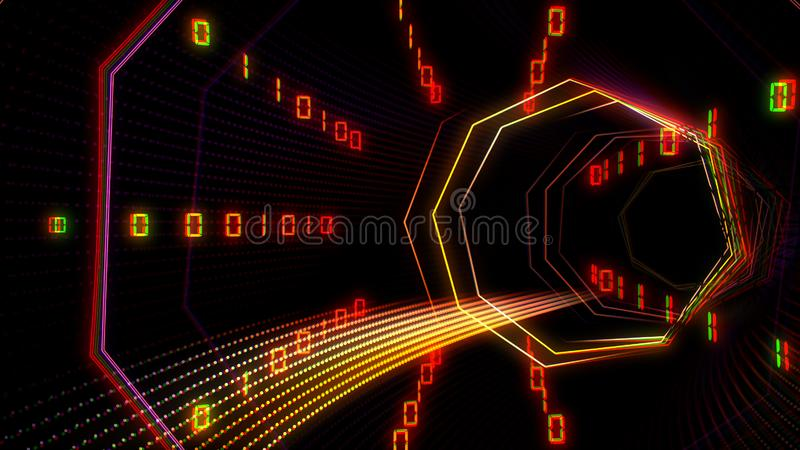 Futuristic technology cyberspace tunnel with information stream illustration vector illustration