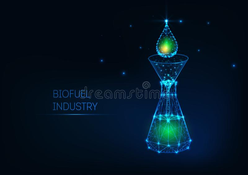 Futuristic biofuel industry concept with glowing low poly green petroleum drop, funnel, flask. Futuristic design biofuel industry concept with glowing low vector illustration