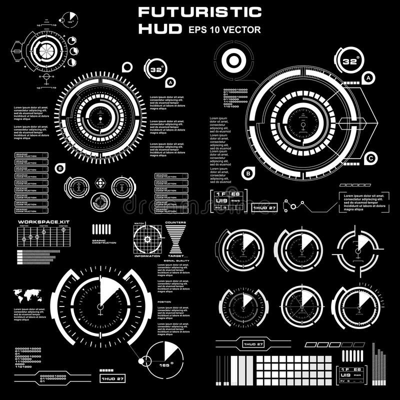 Futuristic Black And White HUD, Virtual Touch User Interface In Flat ...