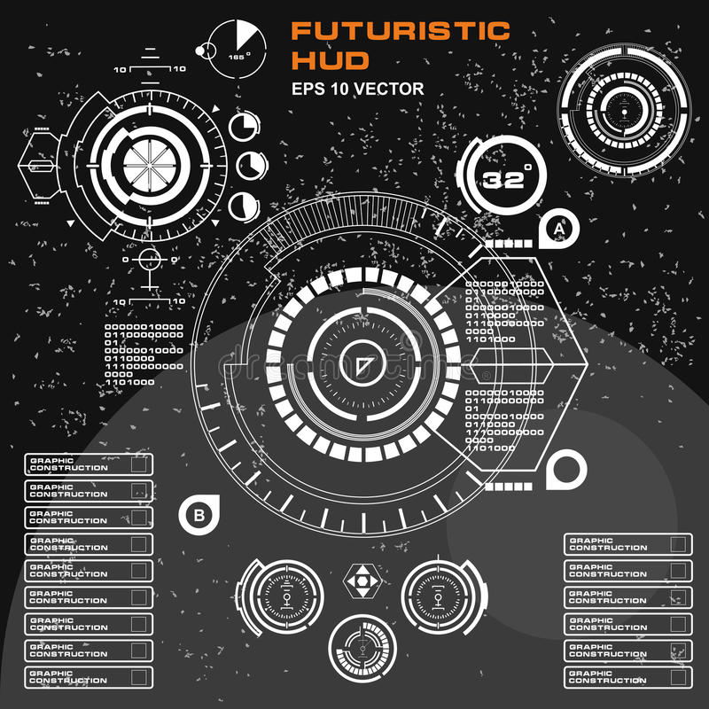Futuristic black and white HUD, virtual touch user interface in flat design. Display, dashboard, target, innovation, user, interface, sensors, sign, , cyberspace royalty free illustration