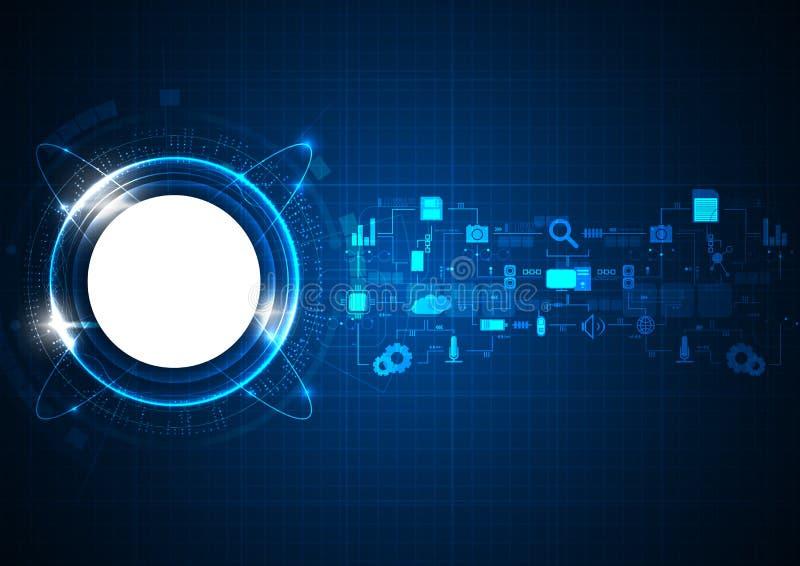 Futuristic Blue Circle Technology Icon. Vector royalty free illustration