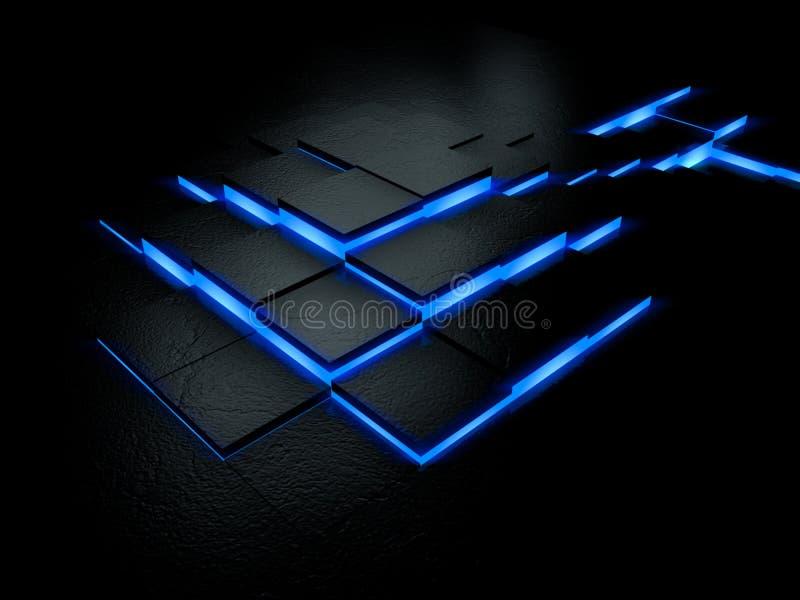 Futuristic blue floor vector illustration