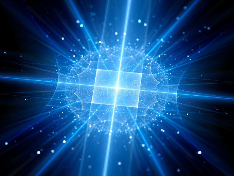 Futuristic blue glowing artificial intelligence with particles stock illustration