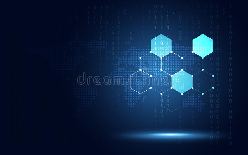 Futuristic blue hexagon honeycomb abstract technology background. Artificial intelligence digital transformation and big data royalty free illustration