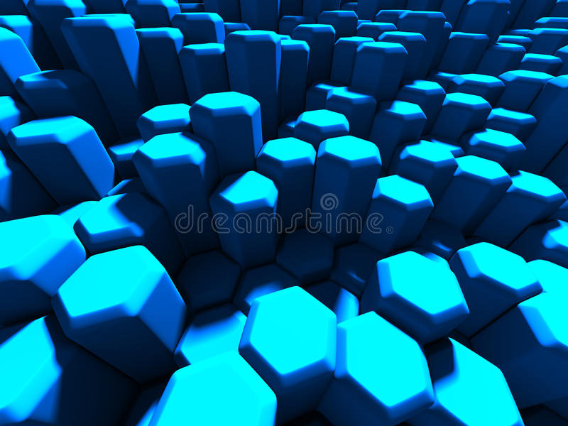 Futuristic Blue Hexagon Pattern Tile Background stock images