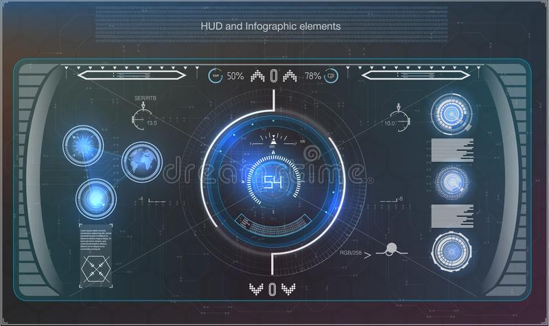 Futuristic blue infographics as head-up display. Display navigation elements for the web and app. Futuristic user interface. stock illustration