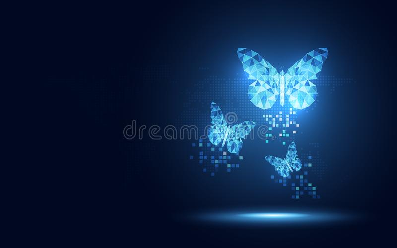 Futuristic blue lowpoly Butterfly abstract technology background. Artificial intelligence digital transformation and big data. Concept. Business quantum vector illustration
