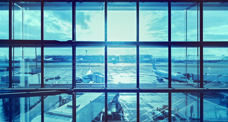 Futuristic blue picture of an airport. stock photography