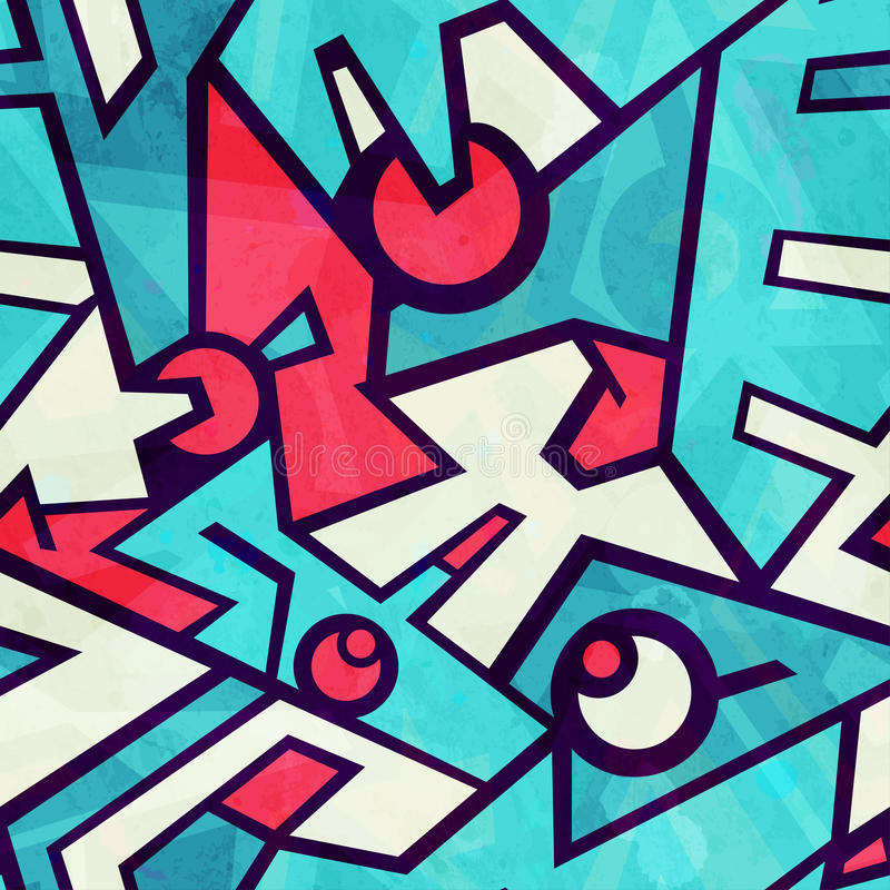 Futuristic blue seamless pattern with grunge effect stock illustration