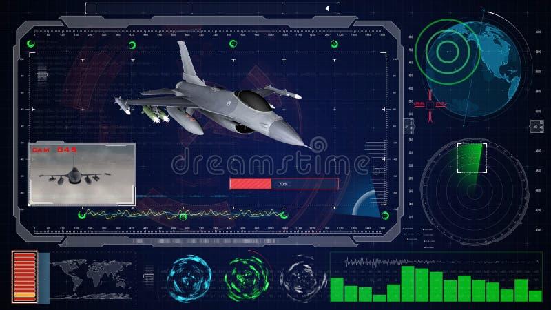 Futuristic blue virtual graphic touch user interface HUD. Jet f 16 airplane. Futuristic blue virtual graphic touch user interface HUD. Jet f 16 airplane stock illustration
