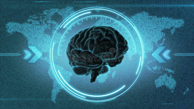 Futuristic brain HUD display. Brain image in interface in front of digital Earth map - 3D render vector illustration