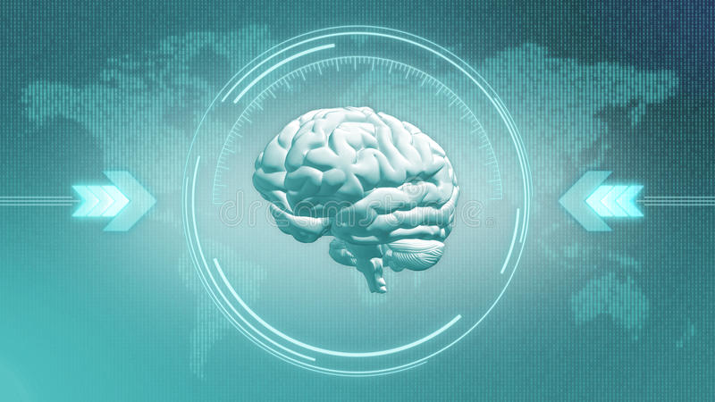 Futuristic brain steampunk concept in HUD display. Blue brain - blue glowing digital Earth - interface concept royalty free illustration