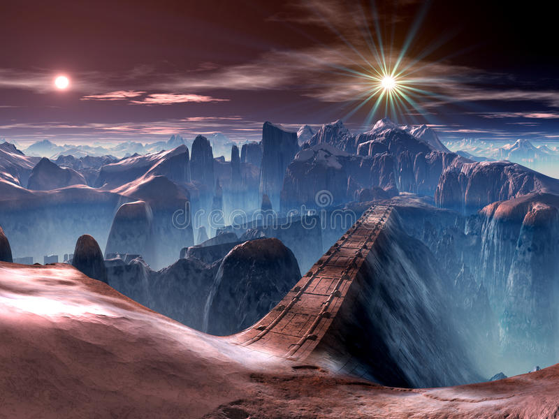 Futuristic Bridge over Ravine on Alien World. The solid metalic bridge spans a huge ravine on another world. In the sky twin suns shine down on the torturous stock illustration
