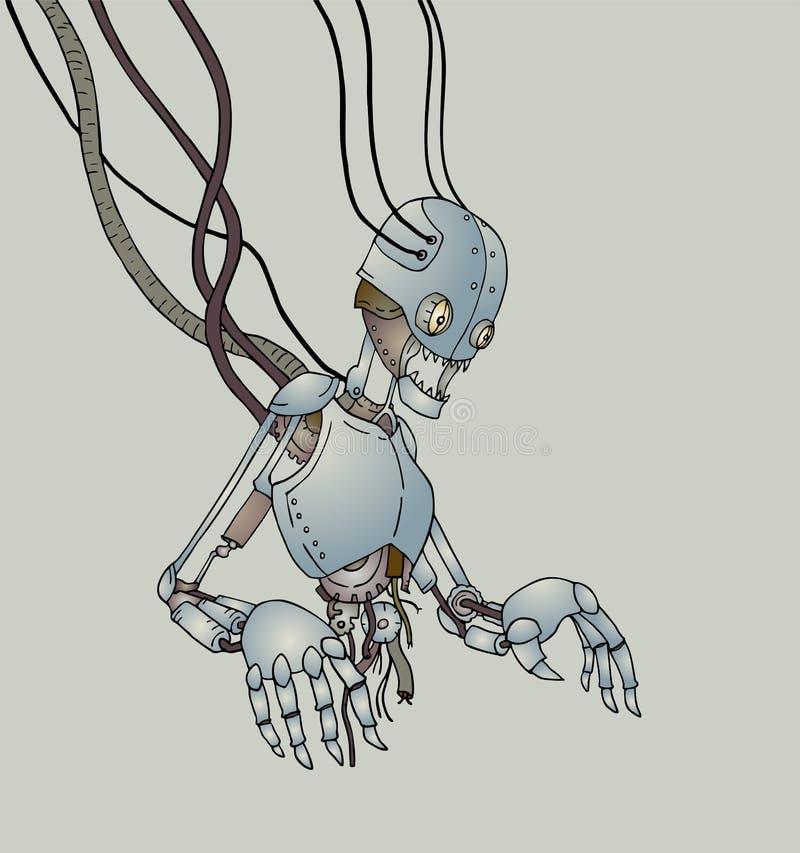Futuristic broken robot stock illustration