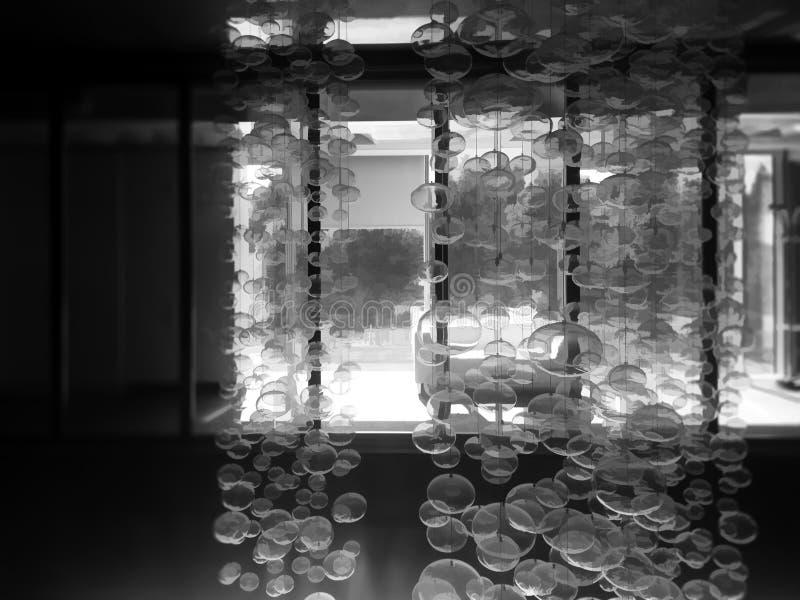 Futuristic bubbles in office interior backdrop stock illustration