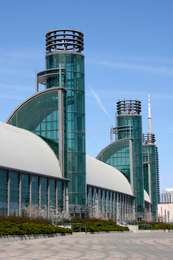 Futuristic Building. Against a blue sky royalty free stock photography