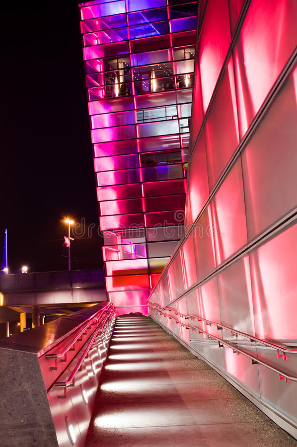 Futuristic Building in Linz. Red shiny futuristic Building in Linz (Capital of Upper Austria stock photography
