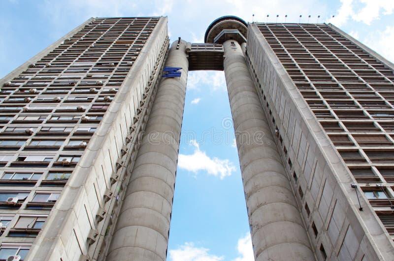 Futuristic building in New Belgrade. Genex Tower, futuristic building in New Belgrade royalty free stock images