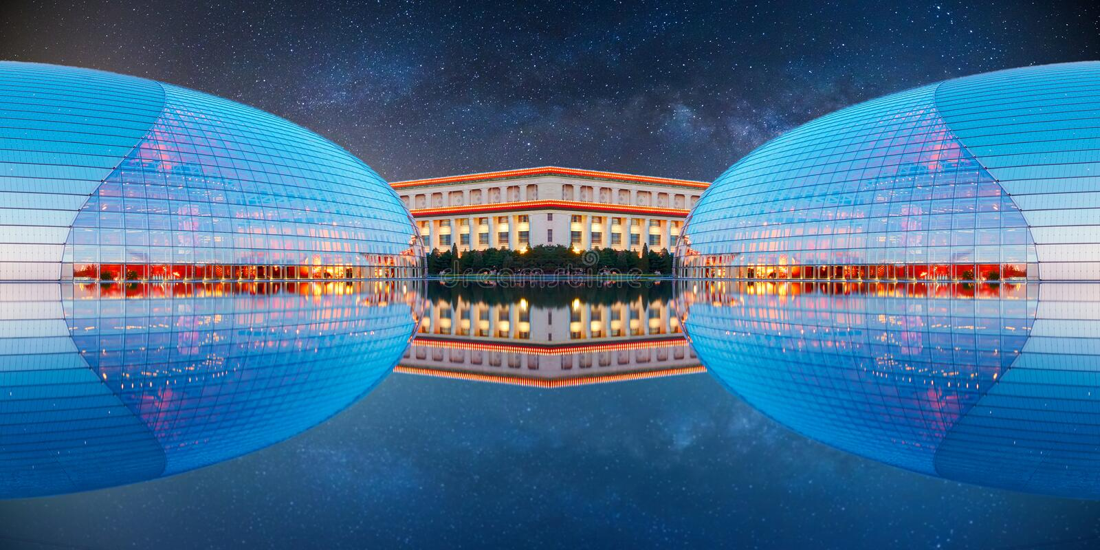 Futuristic building and starry sky stock photos
